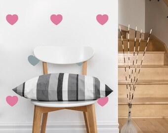 Heart Pattern | Vinyl Wall Sticker,  Decal Art | Set of Hearts, 2-inch or 4-inch wide