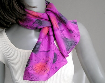 Ponytail Scarf, Small Neck Scarf, Pink Small Scarf, Handpainted Silk, Hand Dyed Scarf, Pink Red Scarf, Jossiani, Handmade, ready to ship