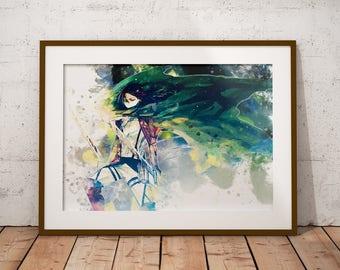 Levi Poster Shingeki no Kyojin Poster AoT Print Levi Mikasa Eren Armin Anime Watercolor Art Print, Anime Poster Watercolor Wall Art n333