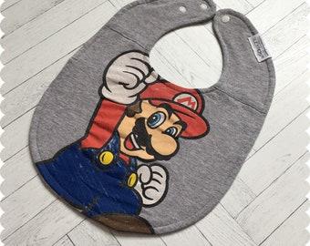 Mario Baby Bib, Recycled T-Shirt Baby Bib, Video Game Baby, Baby Boy Gift, Baby Shower Gift, Super Mario, Nerd Baby, Geek Baby
