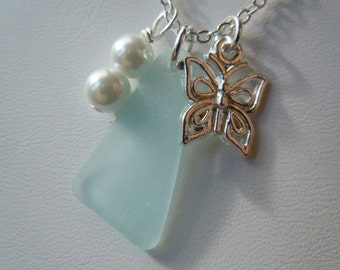 Aqua Beach Glass Necklace Sea Glass Butterfly Necklace Pendant Necklace Seaglass Jewelry