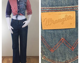 70s Wrangler High Waist Straight Cut Jeans with Red Stitching, Women's Size 28