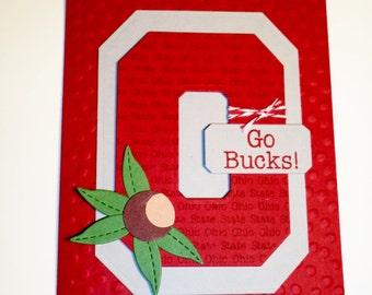 Ohio State Buckeyes, Ohio State, card, hand made, OSU
