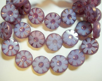 15 13mm Lilac Opal Bronze Czech Glass Table Cut Coin Beads