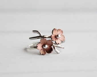 Cherry Blossom Branch Adjustable Ring,Spring Jewelry,  MADEtoORDER, Stacking rings,Sakura blossom, Twig jewelry,  POINTED Petals