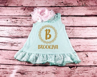 Baby Girl Clothes Lace mint Dress Initial Personalized Name Baby Girl Outfit Toddler Name Shirt Gold Glitter Toddler Girl Glitter Shirt