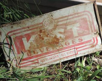 40's 50's ADVERTISING Sign KIST Beverages Kist Soda Pop Rustic  Authentic Original Kist Beverage Sign Metal Advertising Signage