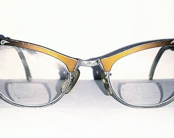 1940s Cat Eyeglasses - Bronze and Silver Vintage Glasses