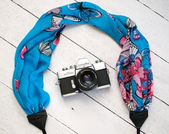 Scarf Camera Strap - Butterfly Gift - DSLR Camera Strap - Gifts for Photographer Birthday - Canon Camera Strap - Blue Butterfly Scarf
