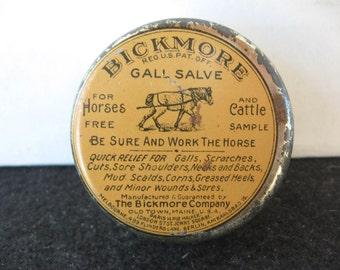 Vintage Bickmore Gall Salve Free Sample Veterinary Tin