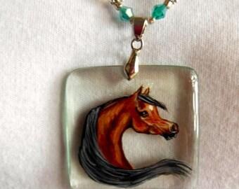 Bay Arabian Horse Handpainted Pendant, Necklace
