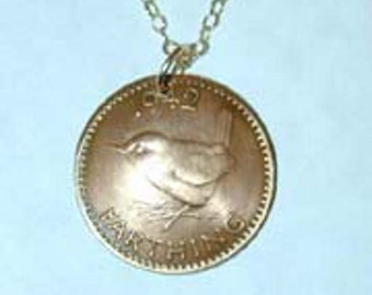 British farthing antique coin necklace-beautifully domed