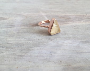 Rose Gold Triangle Ring with Raw Quartz Stone