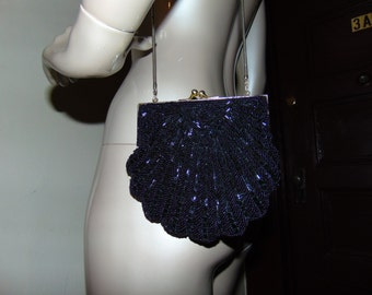 Black Sequin Purse with Long Straps