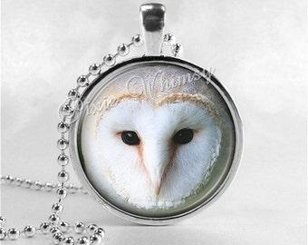 BARN OWL Necklace, Owl Necklace, Owl Jewelry, Owl Pendant, Owl Charm, Bird Necklace, Bird Pendant, Bird Charm, Glass Photo Art Necklace