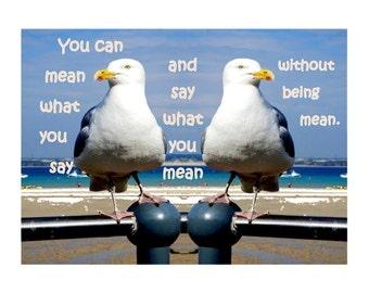 Bird print Seagull printable Beach Decor, Sea Decor Decoration, Quote prints printable sayings inspirational, Coastal wall art, Beach print