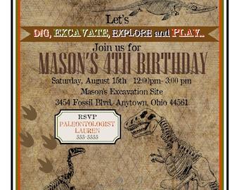 Dinosaur Dig Invitations, Dinosaur Birthday Party, Dinosaur Excavation Party, Dinosaur Fossils, Dino Dig Invites, Dinosaur Bones, Jurassic
