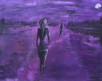 """Mural painting """"Night walk"""" 50 x 70 cm unique & original"""