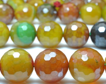 25 pcs of Tibetan Agate,Rainbow Agate faceted round beads in 16mm