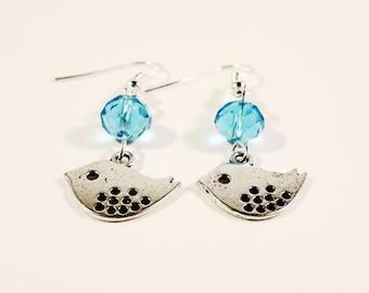 Silver Bird Earrings, Aqua Blue Earrings, Beaded Dangle Earrings, Silver Charm Earrings, Beadwork Earrings, Costume Jewelry, Gifts for Her