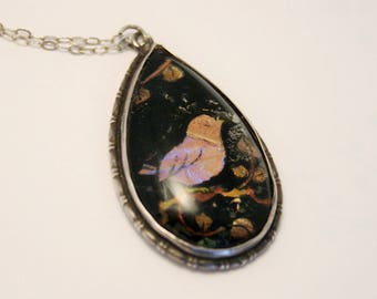 Butterfly wing pendant. Bird pendant. Sterling silver pendant. Vintage necklace. Vintage jewellery