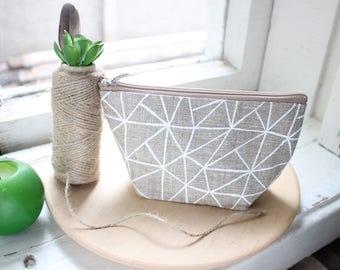 Small makeup bag Geometric print makeup bag Beige makeup bag Linen cosmetic bag Linen pouch Makeup Organizers Girlfriend Gift For girl