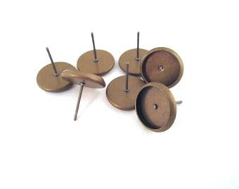 8mm Lünette Ohrringe mit Ohr Muttern, Messing vernickelt, wählen Ihre Menge, C163