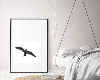 Seagull print. Minimalistic wall decor. Printable poster. Modern digital art.