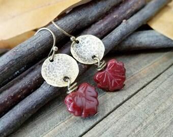 Fall earrings - Autumn earrings - hammered brass jewelry - leaf earrings - fall colors - Fall jewelry - autumn jewelry - fall leaves earring