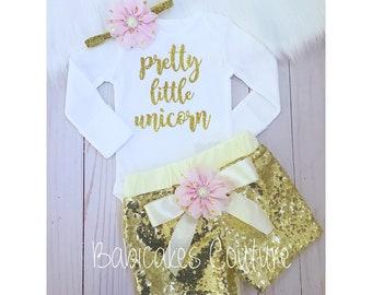 Unicorn Outfit, Unicorn Cake Smash Outfit, Pretty Little Unicorn, Unicorn Birthday Girl, Girls Gold Sequin Shorts, Unicorn Baby Girl