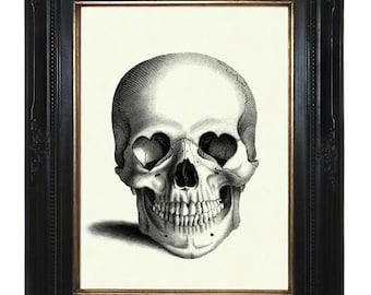 Halloween Skull Art Print Gothic Valentine's Day Skull heart-shaped Sockets Victorian Steampunk Art Print
