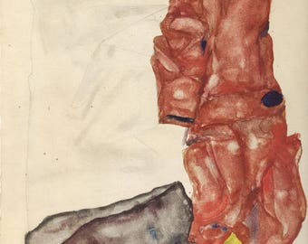 "Schiele Egon, 29, Lithograph, ""Self portrait as prisoner"" printed 1968"