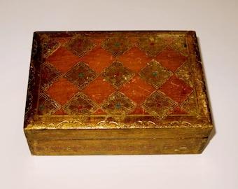 "vintage FLORENTINE BOX,wood, hand painted,rust,gold,bronze,turquoise,red, 6 1/2 ""x 4 1/2""x 2"",trinket,jewelry box,Italy,Renaissance,elegant"