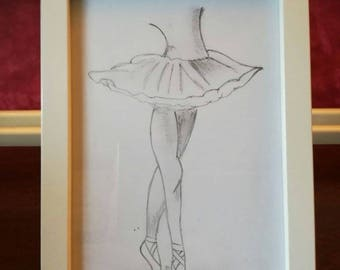 7x5 Ballet dancer hand drawn sketch with frame