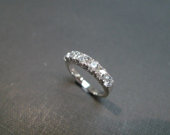 Wedding Diamond Band Ring in 14K White Gold, Diamond Ring, Diamond Engagement Ring, Brilliant Cut Diamond, Wedding Ring, Custom Made Ring