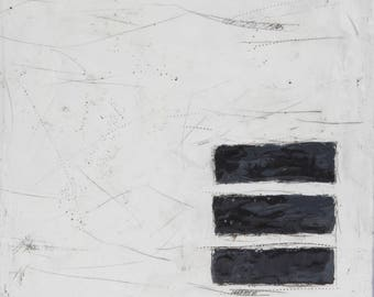 """Black and White Abstract Encaustic Painting // """"Blank Spaces II"""""""