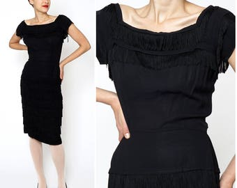 Vintage 1950s Black Fringed Wiggle Dress by Vivian-Lee Originals | Small