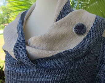 Handwoven Shawl, Woven Shawl, Handwoven Scarf, White Striped Shawl, Shawl Pin, Hand Dyed Shawl