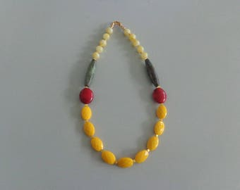 Candy chunky necklace. colorful necklace, yellow necklace, orange yellow green necklace