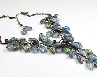 Blue Grey Statement Necklace, Gray Leaf Bib Necklace, Bridal Jewelry, Nature Jewelry