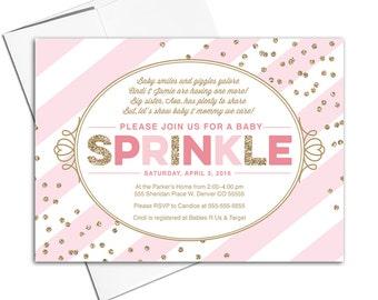 baby sprinkle invitations girl | sprinkle shower for baby girl | gold pink invitations | girl baby shower invitation printable - WLP00707