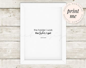 Printable Art | A3 digital download, quote, work hard, luck black white, script, home office, motivation, wall art