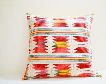 White and Bright Colorful Geometric Pillow Cover , Off White Cushion with Multi Color Weaving , Decor Pillow , Throw Pillow , Spring Summer