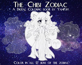 The Chibi Zodiac by YamPuff - Digital Coloring Book - Instant Download