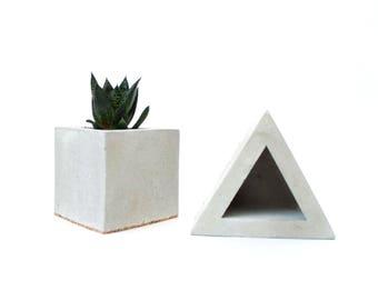Concrete flowerpot planter cork TRIANGLE