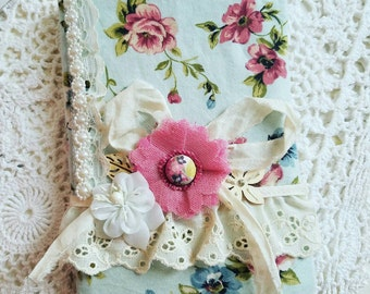 Vintage Fabric Journal, Shabby Chic Bookmark, Fabric Notebook, Cottage Chic Journal, Handmade Fabric Journal