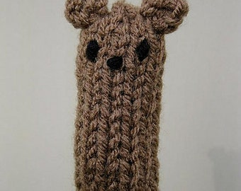 Bear Finger Puppet knitting PATTERN - instant download - permission to sell finished items