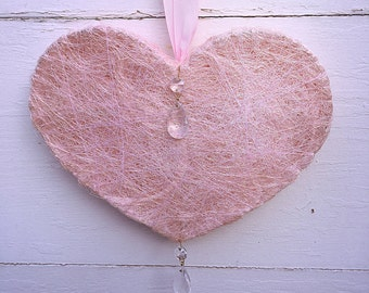 Large Pink valentine ornament / pink heart ornament / valentine decor, heart ornament, shabby puffed valentine heart