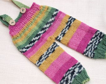Waldorf Doll Clothes - Knitted Overalls - Colorful knitted overall - fits 12 - 13inch dols