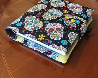 Black Sugar Skull planner cover  17 pocket  Erin Condren Life Planner Fabric Plum Paper Planner accessory Adjustable snap closer